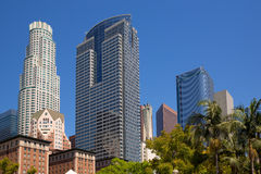 LA Downtown Los Angeles Pershing Square palm tress Royalty Free Stock Photo