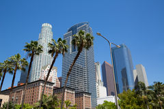 LA Downtown Los Angeles Pershing Square palm tress Royalty Free Stock Photography