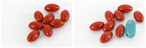 La droga rossa delle capsule completa il collage bianco del fondo Immagine Stock