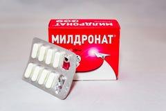 La drogue de Meldonium supplémentaire au ` de Anti-dopage s d'agence du monde a interdit le paquet russe de liste photos stock