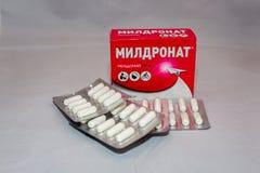 La drogue de Meldonium supplémentaire au ` de Anti-dopage s d'agence du monde a interdit le paquet russe de liste image stock