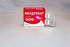La drogue de Meldonium supplémentaire au ` de Anti-dopage s d'agence du monde a interdit le paquet russe de liste photos libres de droits