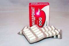 La drogue de Meldonium supplémentaire au ` de Anti-dopage s d'agence du monde a interdit le paquet russe de liste photo libre de droits