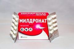 La drogue de Meldonium supplémentaire au ` de Anti-dopage s d'agence du monde a interdit le paquet russe de liste photo stock