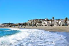 La Duquesa beach, Costa del Sol, Spain. La Duquesa beach, Manilva, Costa del Sol, Spain royalty free stock images