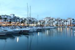 La Duquesa marina at dusk, Spain Stock Photo