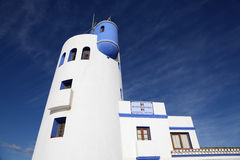 La Duquesa tower. Andalusia Spain. Lighthouse tower at marina of La Duquesa, Costa del Sol, Andalusia Spain royalty free stock photos