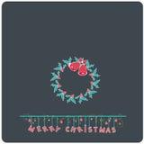 La e-carta piana di Buon Natale di progettazione di Minimalistic con le campane del vischio di natale si avvolge Fotografie Stock Libere da Diritti