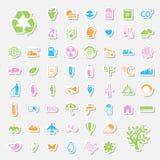La ecología y recicla iconos Fotografía de archivo libre de regalías