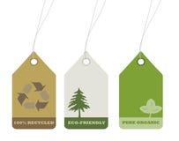 La ecología y recicla las etiquetas para el diseño ambiental Fotografía de archivo