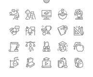 La educación Bien-hizo la línea fina rejilla 2x de los iconos 30 del vector a mano perfecto del pixel para los gráficos y Apps de Imagen de archivo