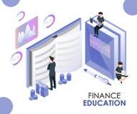La educación de las finanzas se da a la gente con respecto cómo ahorrar concepto isométrico de las ilustraciones del dinero libre illustration