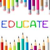 La educación educa estudiar de los medios aprendido y la universidad ilustración del vector