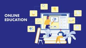La educación en línea, cursa la disposición de la bandera del vector stock de ilustración