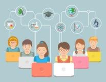 La educación en línea embroma el ejemplo conceptual plano ilustración del vector