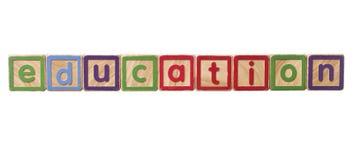 La educación de la palabra construida de bloques del juego Imagen de archivo
