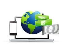 la electrónica de la tecnología nos entra en contacto con correo del globo Fotografía de archivo