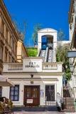 La elevaci?n hist?rica del telef?rico a la ciudad superior en Zagreb puso en la operaci?n en 1890 fotografía de archivo libre de regalías