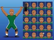 La emoción brasileña de la historieta del Weightlifter hace frente al ejemplo del vector ilustración del vector