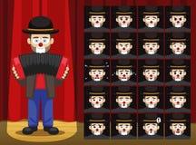 La emoción de la historieta de Accordion Musician Costume del payaso hace frente al ejemplo del vector Fotografía de archivo libre de regalías