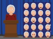 La emoción del carácter de Old Woman Cartoon del político hace frente al ejemplo del vector Fotografía de archivo