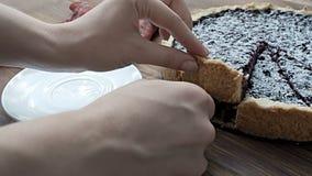 La empanada de arándano asperja con el azúcar en polvo, en la tabla de madera almacen de metraje de vídeo