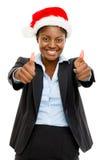 La empresaria afroamericana linda manosea con los dedos encima de la muestra que lleva a Chris Fotos de archivo