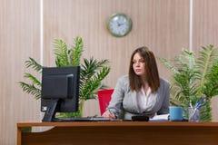 La empresaria bajo tensión que trabaja en la oficina foto de archivo