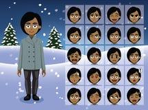 La empresaria Cartoon Emotion del invierno hace frente al ejemplo del vector Fotografía de archivo libre de regalías