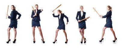 La empresaria con el bate de béisbol en blanco Fotos de archivo libres de regalías