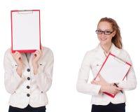 La empresaria con el paperpad aislado en blanco Imagen de archivo