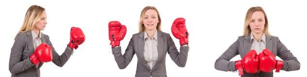 La empresaria de la mujer con los guantes de boxeo en blanco Fotos de archivo
