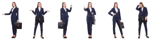 La empresaria en el traje aislado en blanco imagenes de archivo