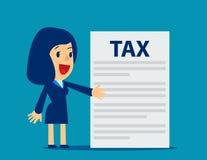 La empresaria está mostrando impuesto Ejemplo del impuesto sobre actividades económicas del concepto Fotografía de archivo
