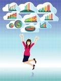 La empresaria que salta con el sistema de la nube de los gráficos de negocio ilustración del vector