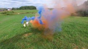 La encuesta aérea de pares camina en el campo con humo coloreado en manos El volar sobre hombre y la mujer corren a través del ca Imagen de archivo