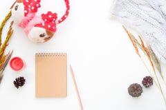 La endecha creativa del plano del concepto del invierno con el cuaderno, lápiz, secó las flores y los accesorios de la muchacha e Foto de archivo libre de regalías