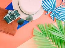 La endecha plana para el accessorie del paño del verano de la mujer con la hoja de palma, vino Fotografía de archivo