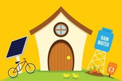 La energía de la reserva de la casa de Eco con va verde ilustración del vector