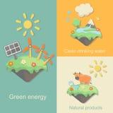La energía verde, productos de la naturaleza limpia el agua potable Imagenes de archivo