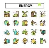 La energía y la ecología llenaron el sistema del icono del diseño del esquema libre illustration
