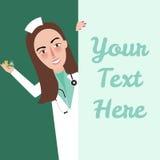 La enfermera del personal médico dice hola llevar a cabo área de texto del espacio en blanco de la muchacha de la medicina Foto de archivo