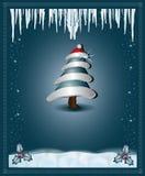 La enhorabuena azul de la Navidad carda el árbol Imágenes de archivo libres de regalías