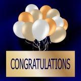 La enhorabuena carda con los globos coloridos lindos Azul festivo b imagen de archivo libre de regalías