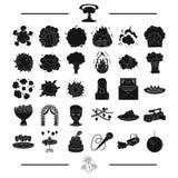 La enhorabuena, la ecología, la protección y el otro icono del web en el stylesalute negro, boda, odas, iconos en la colección de Imagen de archivo libre de regalías