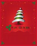 La enhorabuena roja de la Navidad carda el árbol Foto de archivo