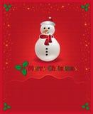 La enhorabuena roja de la Navidad carda el muñeco de nieve Imagen de archivo