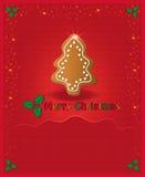 La enhorabuena roja de la Navidad carda el pan de jengibre Fotos de archivo libres de regalías