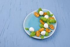 La ensalada caprese deliciosa con los tomates y el queso maduros de la mozzarella con albahaca fresca se va Alimento italiano fotografía de archivo
