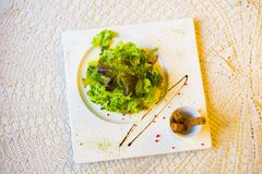La ensalada con el pan seco adornado con la salsa El primer sobre la visión Imagen de archivo